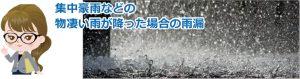 集中豪雨などの物凄い雨が降った場合の雨漏り